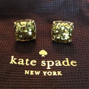 Kate Spade Gold Glitter Square Stud Earrings